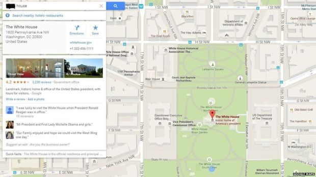 "Search for ""house"" on Google takes you to White House"